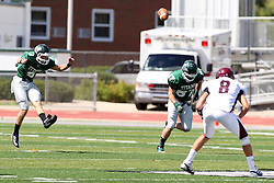08 September 2012:  Alex Garvey puts the ball into play following a Titan touchdown during an NCAA division 3 football game between the Alma Scots and the Illinois Wesleyan Titans which the Titans won 53 - 7 in Tucci Stadium on Wilder Field, Bloomington IL