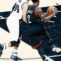 01 May 2017: Houston Rockets guard Patrick Beverley (2) drives past San Antonio Spurs guard Danny Green (14) during the Houston Rockets 126-99 victory over the San Antonio Spurs, in game 1 of the Western Conference Semi Finals, at the AT&T Center, San Antonio, Texas, USA.
