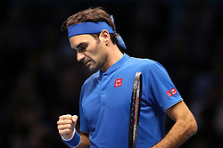 Roger Federer reacts during the men's singles match during day five of the Nitto ATP Finals at The O2 Arena, London.