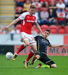 Ollie Clarke of Bristol Rovers tackles Michael Ihiekwe of Rotherham United - Mandatory by-line: Alex James/JMP - 21/04/2018 - FOOTBALL - Aesseal New York Stadium - Rotherham, England - Rotherham United v Bristol Rovers - Sky Bet League One