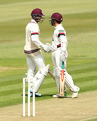 Somerset's Tom Abell is congratulated by Somerset's Johann Myburgh after reaching 50 - Photo mandatory by-line: Robbie Stephenson/JMP - Mobile: 07966 386802 - 21/06/2015 - SPORT - Cricket - Southampton - The Ageas Bowl - Hampshire v Somerset - County Championship Division One