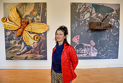 Artist Monster Chetwynd with two of her creations 'Hawkmoth 2018' (left) and 'Click-Clac 2' which are appearing at the National Galleries of Scotland NOW IV exhibition at the Gallery of Modern Art.<br /> <br /> © Dave Johnston/ EEm