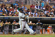 Jean Segura #9 of the Milwaukee Brewers bats against the Minnesota Twins on May 29, 2013 at Target Field in Minneapolis, Minnesota.  The Twins defeated the Brewers 4 to 1.  Photo: Ben Krause