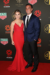 Players from the Westfield W-League and Hyundai A-League arrive on the red carpet for the 2018 Dolan Warren Awards at The Star Event Centre - 80 Pyrmont St, Pyrmont, NSW. 30 Apr 2018 Pictured: Western Sydney Wanderers' captain Mark Bridge and Alyssa Bridge. Photo credit: Richard Milnes / MEGA TheMegaAgency.com +1 888 505 6342