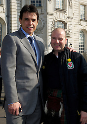 CARDIFF, WALES - Thursday, March 1, 2012: Members of the Football Association of Wales take part in the 10th St. David's Day Parade through the streets of Cardiff. Wales manager Chris Coleman and Chief-Executive Jonathan Ford. (Pic by David Rawcliffe/Propaganda)