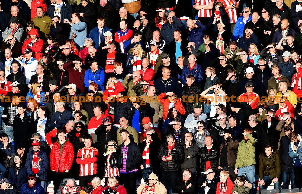 Blinded by the light Sunderland fans during the Premier League match between AFC Bournemouth and Sunderland AFC at the Vitality Stadium in Bournemouth. November 5, 2016.<br /> Simon  Dack / Telephoto Images<br /> +44 7967 642437