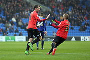 Dale Stephens celebrates scoring for Brighton to make it 3-1 during the Sky Bet Championship match between Cardiff City and Brighton and Hove Albion at the Cardiff City Stadium, Cardiff, Wales on 20 February 2016.