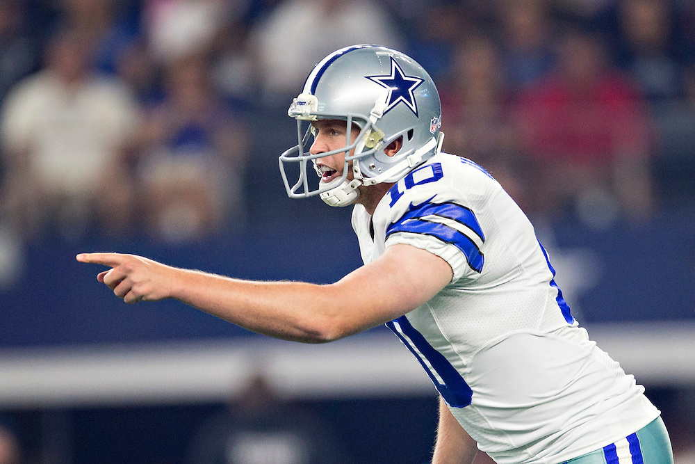 ARLINGTON, TX - SEPTEMBER 3:  Dustin Vaughan #10 of the Dallas Cowboys calls a play during a preseason game against the Houston Texans at AT&T Stadium on September 3, 2015 in Arlington, Texas.  The Cowboys defeated the Texans 21-14.  (Photo by Wesley Hitt/Getty Images) *** Local Caption *** Dustin Vaughan