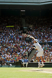 LONDON, ENGLAND - Sunday, July 4th, 2010: Tomas Berdych (CZE) serves during the Gentlemen's Singles Final match on day thirteen of the Wimbledon Lawn Tennis Championships at the All England Lawn Tennis and Croquet Club. (Pic by David Rawcliffe/Propaganda)