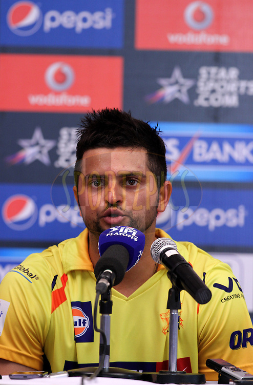 Suresh Raina of The Chennai Superkings speaks during the press conference of eliminator match of the Pepsi Indian Premier League Season 2014 between the Chennai Superkings and the Mumbai Indians held at the Brabourne Stadium, Mumbai, India on the 28th May  2014<br /> <br /> Photo by Vipin Pawar / IPL / SPORTZPICS<br /> <br /> <br /> <br /> Image use subject to terms and conditions which can be found here:  http://sportzpics.photoshelter.com/gallery/Pepsi-IPL-Image-terms-and-conditions/G00004VW1IVJ.gB0/C0000TScjhBM6ikg