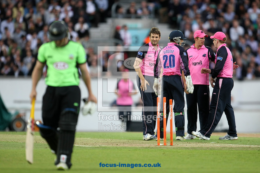 London - Thursday June 23rd 2011: Gary Wilson of Surrey is bowled by Tim Murtagh of Middlesex for the 5th wicket during the Friends Life T20 match at The Kia Oval, London. (Pic by Paul Chesterton/Focus Images)