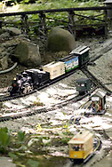 A g-scale train passes a passenger station, as the trolley moves on it's way through the garden railroad in the back yard at Jack and Sharon Wilson's house.  Their 'Little River Railroad' was part one of several in an open garden tour for garden railroad clubs from Cincinnati, Columbus and Indianapolis, Sunday, July 15, 2007.