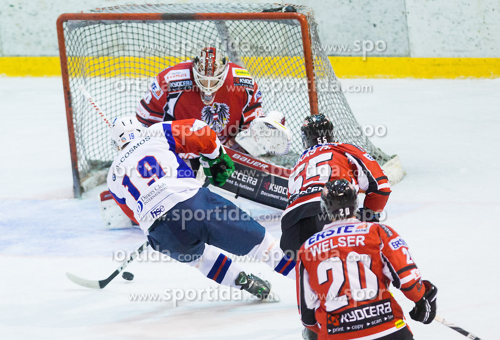 Ziga Pance of Slovenia vs Rene Swette of Austria during Friendly Ice-hockey match between National teams of Slovenia and Austria on April 19, 2013 in Ice Arena Tabor, Maribor, Slovenia. (Photo By Vid Ponikvar / Sportida)