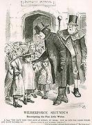 Wilberforce Secundus': Samuel Wilberforce (1805-1873) English cleric.  Wilberforce,  Bishop of Oxford, made a speech in favour of recreation for poor children. Legend alludes to his father William's work on abolition of slavery.  John Tenniel cartoon from 'Punch', London, 7 September 1867.