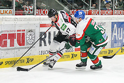 12.12.2014, Curt Fenzel Stadion, Augsburg, GER, DEL, Augsburger Panther vs Koelner Haie, 26. Runde, im Bild l-r: im Zweikampf, Aktion, mit Philip Gogulla #87 (Koelner Haie) und Arvids Rekis #37 (Augsburger Panther) // during Germans DEL Icehockey League 26th round match between Augsburger Panther vs Koelner Haie at the Curt Fenzel Stadion in Augsburg, Germany on 2014/12/12. EXPA Pictures © 2014, PhotoCredit: EXPA/ Eibner-Pressefoto/ Kolbert<br /> <br /> *****ATTENTION - OUT of GER*****