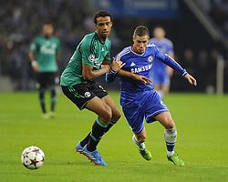 Chelsea's Fernando Torres battles for the ball with FC Schalke 04 Joel Matip - Photo mandatory by-line: Joe Meredith/JMP - Tel: Mobile: 07966 386802 22/10/2013 - SPORT - FOOTBALL - Veltins-Arena - Gelsenkirchen - FC Schalke 04 v Chelsea - CHAMPIONS LEAGUE - GROUP E