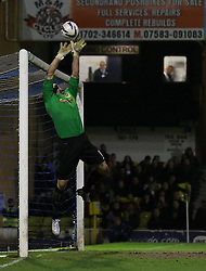 Ryan Clarke Of Oxford United in fine form tips the ball over the net - Photo mandatory by-line: Robin White/JMP - Tel: Mobile: 07966 386802 24/03/2014 - SPORT - FOOTBALL - Roots Hall - Southend - Southend United vs Oxford United - Sky Bet League 2