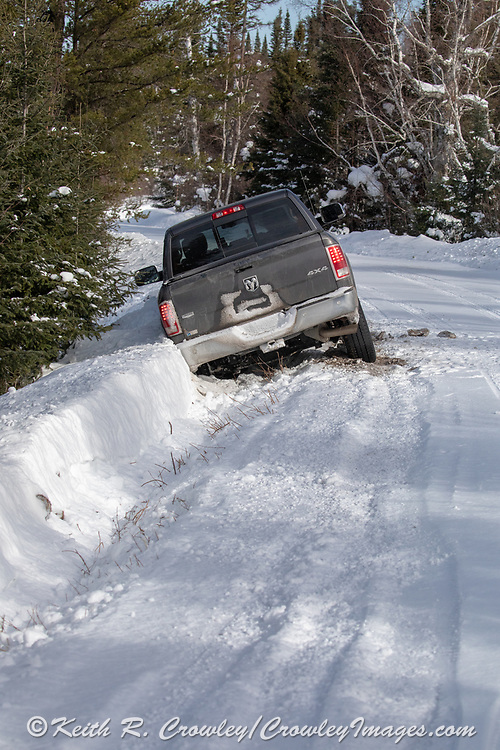 Oops! The author got his truck stuck while looking at lynx tracks on a remote forest road in northern Minnesota.