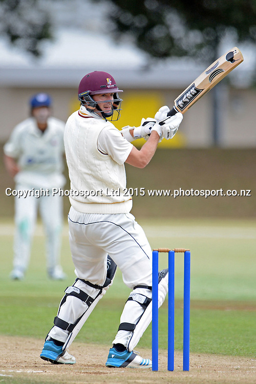 Northern Districts batsman Graeme Aldridge in action. Plunket Shield. 4 Day match between Auckland and Northern Districts at Colin Maiden Park in Auckland. New Zealand. Sunday 08 February 2015. Copyright Photo: Raghavan Venugopal/www.photosport.co.nz
