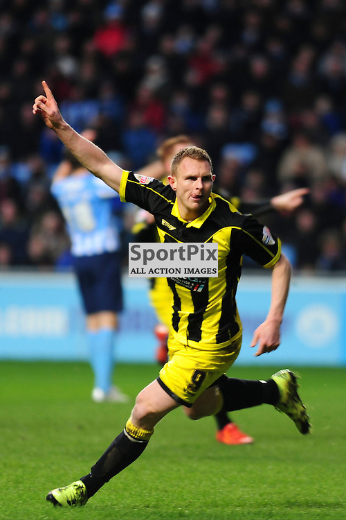 BURTONS STUART BEAVON CELEBRATES AFTER SCORING BURTON ALBIONS SECON GOAL, Coventry City v Burton Albion, Ricoh Arena,  Sky Bet League 1, Saturday 16th JJanuary 2016,