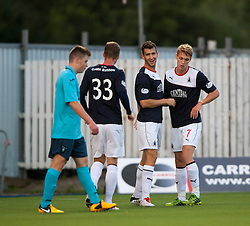 Falkirk's Kieran Duffie cele after Dunfermline's Callum Morris put the ball past his keeper for Falkirk's first goal.<br /> Falkirk 2 v 1 Dunfermline, Scottish League Cup, 27/8/2013, at The Falkirk Stadium.<br /> &copy;Michael Schofield.