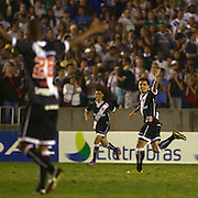 Fagner (right)  celebrates after scoring a goal for Vasco during the Fluminense FC V CR Vasco da Gama Futebol Brasileirao League match at the Maracana, Jornalista Mário Filho Stadium,  The match ended in a 2-2 draw. Rio de Janeiro,  Brazil. 22nd August 2010. Photo Tim Clayton..