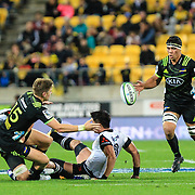 Jordie Barrett passes during the Super Rugby union game between Hurricanes and Sunwolves, played at Westpac Stadium, Wellington, New Zealand on 27 April 2018.   Hurricanes won 43-15.