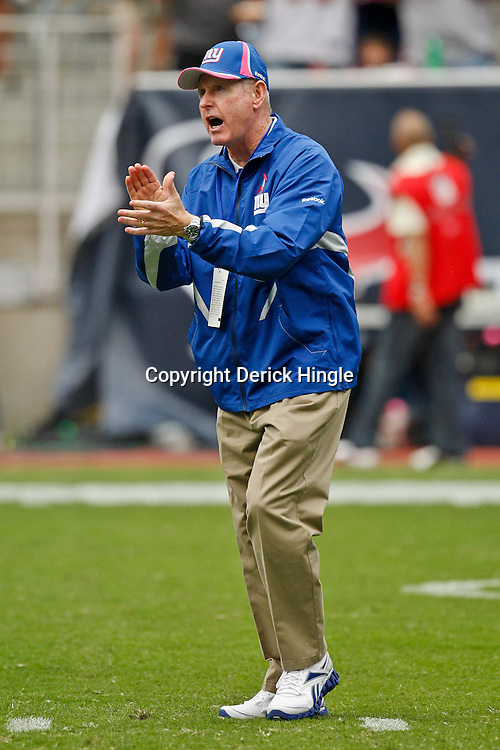 October 10, 2010; Houston, TX USA; New York Giants head coach Tom Coughlin during warms ups prior to kickoff of a game against the Houston Texans at Reliant Stadium. The Giants defeated the Texans 34-10. Mandatory Credit: Derick E. Hingle