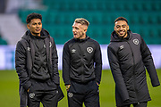 Demetri Mitchell (#11) (left), Callumn Morrison (#38) (centre) and Jake Mulraney (#23) of Heart of Midlothian (right) before the Ladbrokes Scottish Premiership match between Hibernian FC and Heart of Midlothian FC at Easter Road Stadium, Edinburgh, Scotland on 29 December 2018.