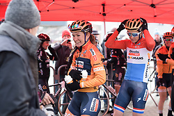 Amy Pieters in good spirits at sign in at the 112.8 km Le Samyn des Dames on March 1st 2017, from Quaregnon to Dour, Belgium. (Photo by Sean Robinson/Velofocus)