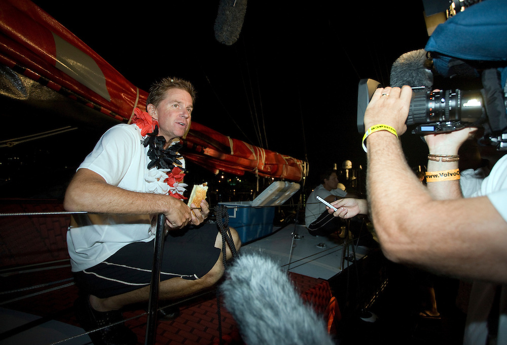 27MAR09 Skipper Ken Read talks to the press on the dock as PUMA Ocean Racing arrive in Rio de Janeiro for the finish of Leg 5 of the Volvo Ocean Race 2008-09, crossing the line at 04:27:00GMT (01:27:00 local), to finish in third place