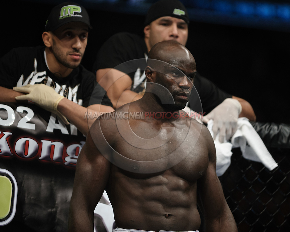 """LONDON, ENGLAND, OCTOBER 2010: Cheick Kongo stands ready in his corner during """"UFC 120: Bisping vs. Akiyama"""" inside the O2 Arena in Greenwich, London"""
