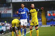 Burton Albion's John Brayford and Ipswich Town's Jordan Spence during the EFL Sky Bet Championship match between Ipswich Town and Burton Albion at Portman Road, Ipswich, England on 10 February 2018. Picture by John Potts.