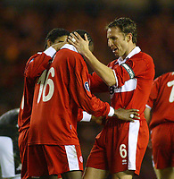 15/12/2004 - UEFA Cup, Group E - Middlesbrough v FK Partizan - The Riverside, Middlesbrough<br />Middlesbrough's captain Gareth Southgate celebrates with goalscoring team mate Joseph-Desire Job after the second goal goes in.<br />Photo:Jed Leicester/Back Page Images