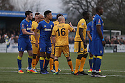 AFC Wimbledon during The FA Cup match between Sutton United and AFC Wimbledon at Gander Green Lane, Sutton, United Kingdom on 7 January 2017. Photo by Stuart Butcher.
