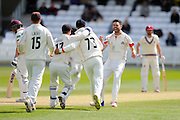 Lancashire's James Anderson takes two wickets in two balls as he dismisses Somerset's Roelof van der Merwe during the Specsavers County Champ Div 1 match between Somerset County Cricket Club and Lancashire County Cricket Club at the County Ground, Taunton, United Kingdom on 3 May 2016. Photo by Graham Hunt.