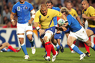 Marseille, FRANCE - 12th September 2007, Carlo Festuccia of Romania heads for a try during the Rugby World Cup, pool C, match between Italy and Romania held at the Stade Velodrome in Marseille, France...Photo: Ron Gaunt/ Sportzpics