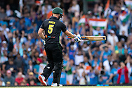 SYDNEY - NOVEMBER 25: Australian player Aaron Finch (c) walks off after getting out at the International Gillette T20 cricket match between Australia and India at The Sydney Cricket Ground in NSW on November 25, 2018. (Photo by Speed Media/Icon Sportswire)