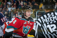 KELOWNA, CANADA - NOVEMBER 1:  Rourke Chartier #14 of the Kelowna Rockets skates on the ice against the Kamloops Blazers at the Kelowna Rockets on November 1, 2012 at Prospera Place in Kelowna, British Columbia, Canada (Photo by Marissa Baecker/Shoot the Breeze) *** Local Caption ***