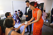 Bride and groom celebrate their wedding with family and friends at Hotel Zelos San Francisco's Dirty Habit in San Francisco, California, on October 15, 2016. (Stan Olszewski/SOSKIphoto)