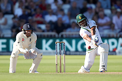 South Africa's Vernon Philander hits out but is caught out by Liam Dawson during day three of the Second Investec Test match at Trent Bridge, Nottingham.
