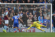 Birmingham City  midfielder David Davis (26)  shot beats Aston Villa   goalkeeper Pierluigi Gollini (1) to score a goal to make the score 1-1 during the EFL Sky Bet Championship match between Birmingham City and Aston Villa at St Andrews, Birmingham, England on 30 October 2016. Photo by Simon Davies.