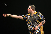 Adrian Lewis  during the Premier League Darts  at the Motorpoint Arena, Cardiff, Wales on 31 March 2016. Photo by Shane Healey.