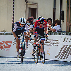 18-09-2020: Wielrennen: Giro Rosa: San Marco la Catola<br /> Elisa Longo Borghini took the stage win in the eighth stage of the Giro Rosa at the expense of Anna van der Breggen. The Italian of Trek-Segafredo was the better of the Dutch champion of Boels-Dolmans on the steep final climb to San Marco la Catola. Van der Breggen was able to take over the lead in the general classification because of her second place.