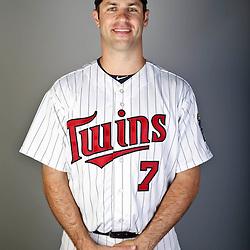 Feb 19, 2013; Fort Myers, FL, USA; Minnesota Twins catcher Joe Mauer (7) poses for a portrait during photo day at Hammond Stadium. Mandatory Credit: Derick E. Hingle-USA TODAY Sports
