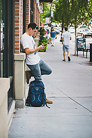 Rob Aseltine working his way through the Sugar House neighborhood of Salt Lake City, Utah.