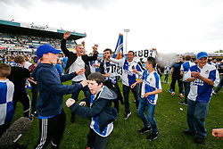 Bristol Rovers fans celebrate after Bristol Rovers win the match in injury time to secure 3rd place in League 2, back to back promotions and a place in Sky Bet League 1 for 2016/17 - Mandatory byline: Rogan Thomson/JMP - 08/03/2016 - FOOTBALL - Memorial Stadium - Bristol, England - Bristol Rovers v Dagenham & Redbridge - Sky Bet League 2.