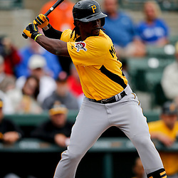 Mar 1, 2013; Sarasota, FL, USA; Pittsburgh Pirates center fielder Andrew McCutchen (22) against the Baltimore Orioles during the top of the first inning of a spring training game at Ed Smith Stadium. Mandatory Credit: Derick E. Hingle-USA TODAY Sports