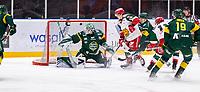 2019-12-02 | Umeå, Sweden: Björklöven (35) Joe Cannata sending the puck outside the goal HockeyAllsvenskan during the game  between Björklöven and Mora at A3 Arena ( Photo by: Michael Lundström | Swe Press Photo )<br /> <br /> Keywords: Umeå, Hockey, Hockey innskan, A3 Arena, Björklöven, Mora, mlbm191202
