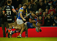 Ryan Hall of Leeds Rhinos scores the try against Castleford Tigers during the Betfred Super League match at Elland Road, Leeds<br /> Picture by Stephen Gaunt/Focus Images Ltd +447904 833202<br /> 23/03/2018